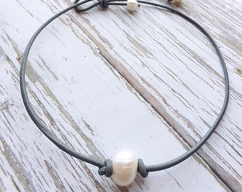 Grey Leather and Pearl Choker Necklace ~ Single White Freshwater Pearl Necklace