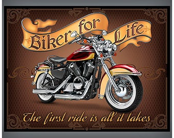"""Biker For Life 36"""" Fabric Panel / Motorcycle Quilt Fabric Panel  / Quilt Top Fabric Panel"""
