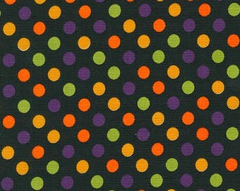 Halloween Fabric by the yard / Spooky Spot On / Dots on Black Fabric by the yard / Robert Kaufman 12872 /  Halloween Yardage & Fat Quarters