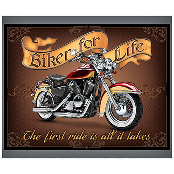 Biker For Life 36 Fabric Panel / Motorcycle Quilt Fabric : motorcycle quilting fabric - Adamdwight.com