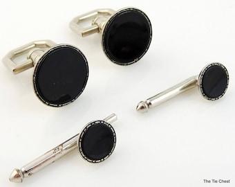 Vintage 1930s Swank Cufflinks Studs Evening Set Black