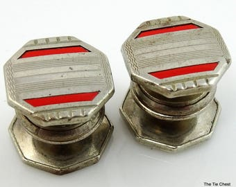 Kum-A-Part Snap Cufflinks Vintage 1920s Red Stripe Art Deco