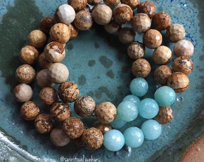 Picture Jasper + Amazonite   Spiritual Junkies   Yoga + Meditation   Single Stackable Mala Bracelet