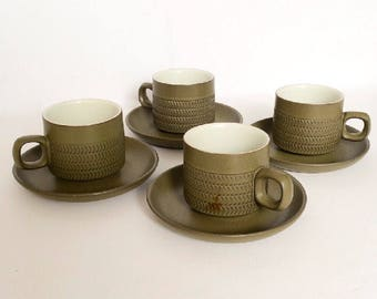 "Four 1960s Denby ""Camelot"" Mugs and Saucers"