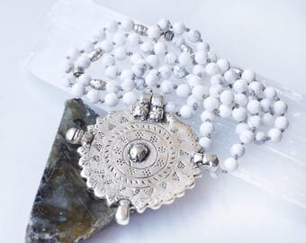 Silver tribal necklace, tribal pendant necklace, silver tribal pendant, large silver pendant, silver aztec necklace, white stone necklace