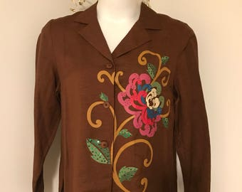 Vintage Sequin Flower Blouse