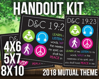 2018 Mutual Theme Handouts Symbol Style. For LDS Young Women or Young Men. D&C 19:23. Peace in Me. Youth Conference. New Beginnings