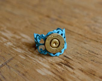 Bullet Ring, Bullet Accessories, Ammo Accessories, Ammunition Accessories - Pistol Hannie Ring (Brass/Teal)