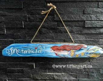 Mermaid, mermaid sign, mermaid decor, driftwood art,painted driftwood,mermaid wall decor,mermaid painting,mermaid gifts,mermaid wall hanging