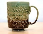Beau the deer with branches and flowers. Handmade Ceramic mug. 13 fl oz