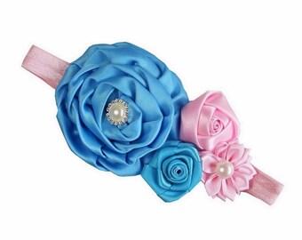 Girls Rosette Flower Pearl Crystal Headbands - Baby Headband, Shabby Chic Headband, Girls headband, Newborn Headband - More Colors