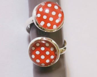 Double adjustable cabochon ring