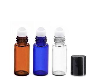 Lot of 36 (3ml) Glass Roll On Bottles Black Cap Mini 15x35mm Essential Oil Lip Gloss Perfume - Cobalt Blue Amber Clear Roller Vials 3 ml