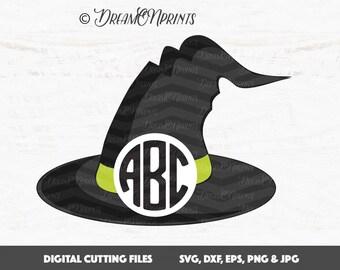 Witch Hat Svg, Halloween Monogram Svg, Circle Monogram Svg, Monogram Frame Cut Files, Halloween Svg, Witch Frames Cut Files SVDP350