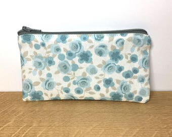 Small zip purse, coin purse, zip pouch, small change purse, blue floral purse, gifts for her, clarke and clarke fabric
