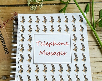 Hare notebook. Telephone message book with hare pattern. Hare gift. hare book. sketchbook with a hare. hand made book. wildlife gift