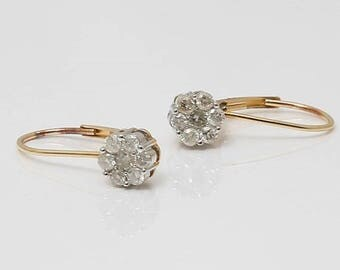20% OFF 14k Yellow Gold Diamond Cluster Hoop Drop Earrings