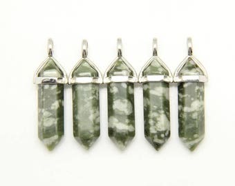 Wholesale Green Semi-precious Stone Healing Points Pendant with Silver Plated Bail,Reiki Necklace Jewelry