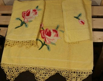 Vintage Yellow and Pink Cannon Chenille Three Piece Towel Set with Crocheted Edges