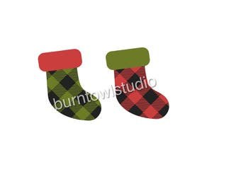 Buffalo Plaid Stockings Red and Green - Digital Download