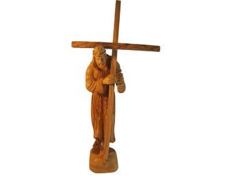 Jesus Olive Wood Figure Statue - 8 inch Height