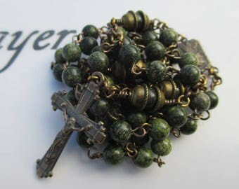 Rosary No. 72 - Green Russian Serpentine in Brass and Bronze