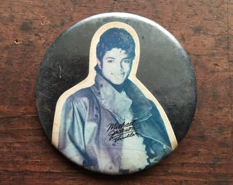 Michael Jackson Thriller Button Vintage Original 1980's