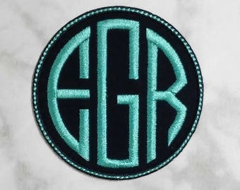 Iron On Circle Monogram Patch/Natural Circle Font/CUSTOM COLORS/Iron On Applique/Backpack Patch/Personalized Patch/Iron On Patch/Embroidered