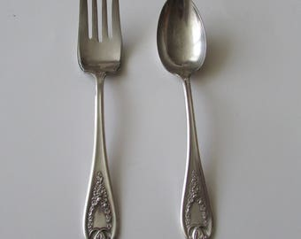 Rogers Bros Old Colony Meat Fork & Serving Spoon Silverplate Silver Plate Set