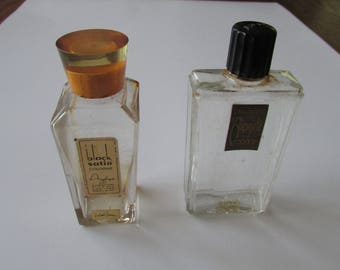 2 Vintage Perfume Bottles Bakelite Top black Satin & Aimant Coty Bottle