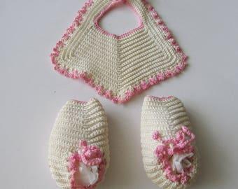 Vintage Crochet Baby Bib & Booties White Pink Crocheted