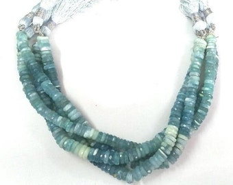 50% OFF 1 Strand Natural Blue Opal Micro Faceted Rondelle Beads - Blue Opal Heishi Cut Beads Size 7-8mm - 10 Inches Long Strand