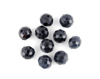 x 20 (21) 10mm black glass faceted beads