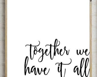 70%OFF together we have it all, bedroom decor, printable wall decor, bedroom print, bedroom art, printable wall art, printable decor, instan