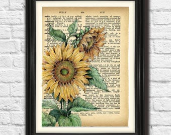 S FOR SUNFLOWERS - Vintage Style Watercolor Art Print Botanical Illustration Flower Plant On Old Book Page Background