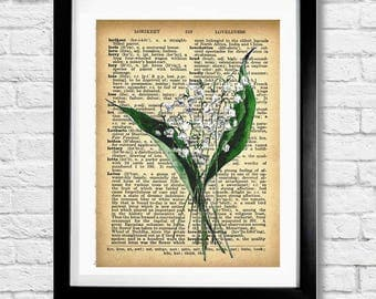 Lily of the Valley Watercolor Painting Vintage Botanical Illustration on Old Dictionary Book Page