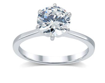 Diamond Engagement Ring 1.75 Ct- Minimalist Solitaire Diamond Ring 14K Gold; Tapered Band Solitaire Engagement Ring- Round True Diamond H/