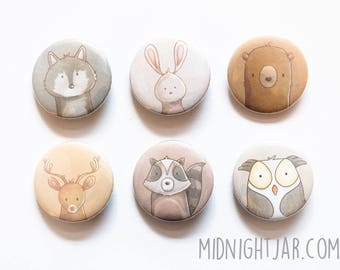 Illustrated animals - themed set of 8 button badges (25mm)