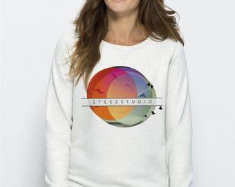Sweat-shirt col rond Femme coton BIO équitable  Blanc crème chiné 108-Trips