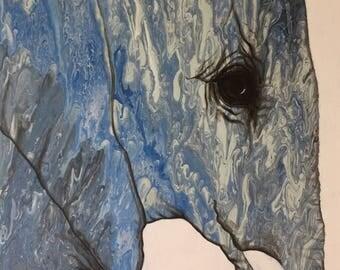 Blue Elephant Silhouette Acrylic Painting