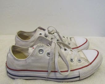 GRUNGED White-Colored,Vintage Retro CONVERSE All Star SKATER Style Sneakers.5-Men/7-Wom