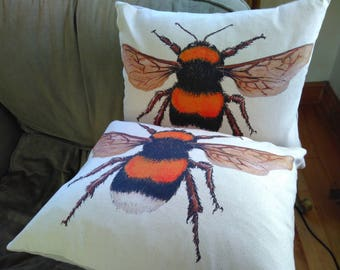 Pair of Bumble Bee cushions with Feather inners
