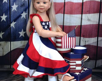Sizes 6m-14   Red, White, Blue.  Boutique 4th of July Pageant Twirl Dress, Ruffle straps.