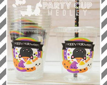 Halloween Party Cups, Lids & Straws or Favor Cups with Dome Lids