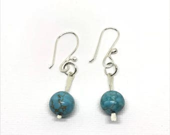 Turquoise Blue Howlite and Sterling Silver Earrings