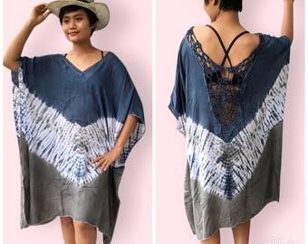 Blue kaftan tie die, BW01 blue, beach cover up, holiday, maternity wear, lounge wear, pool side party wear, plus size, loose fitted dress