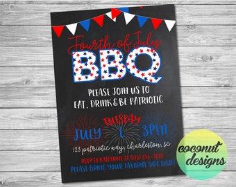 Fourth of July BBQ Invitation / Fourth of July Invitation / 4th of July Invite / Independence Day Invitation / Digital File