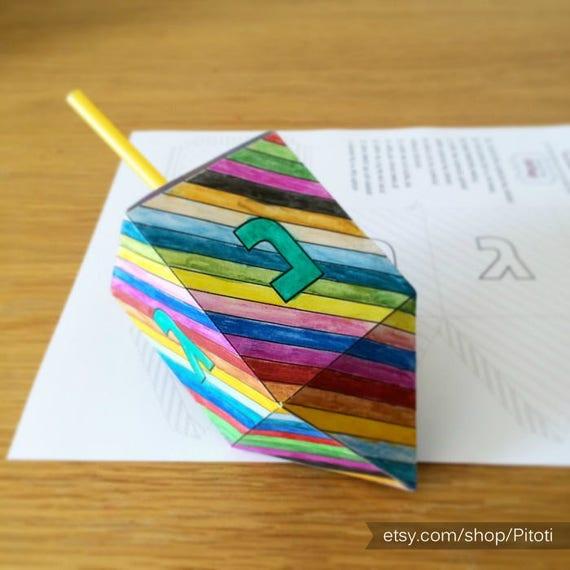 hanukkah dreidel paper craft for kids printable dreidel