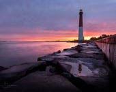Old Barney at Sunrise NJ Beach, Barnegat Lighthouse New Jersey beach, NJ Shore, New Jersey Print, New Jersey Photo Gift