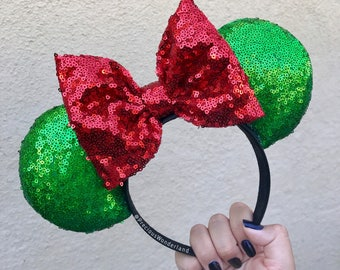 Red and Green Sequin Christmas Mouse Ears